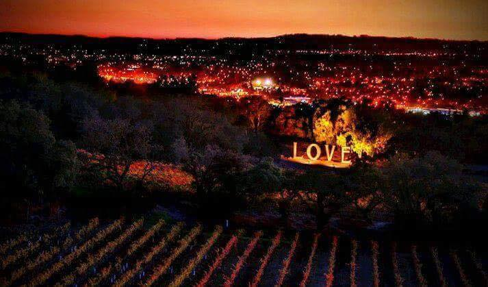 Love sign at destroyed Paradise Ridge Winery