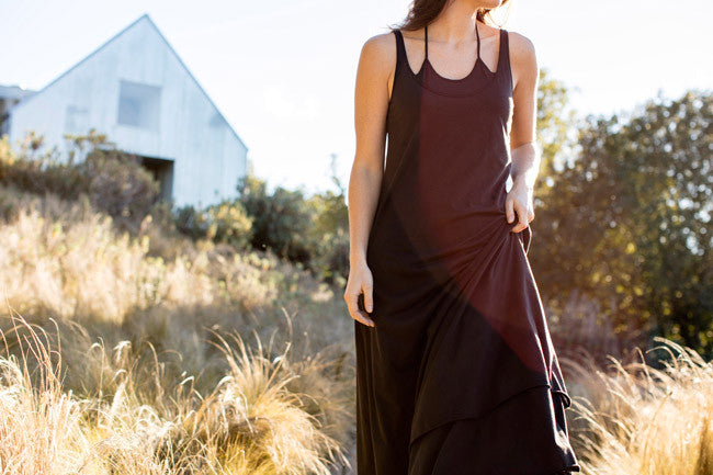 Sustainable Summer It List | Womens Double Layer Maxi Dress in Black organic Pima cotton