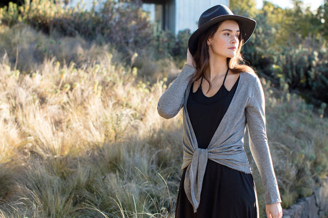 Sustainable Summer It List | Womens Tie Front Cardigan | Organic Pima Cotton Jersey Sweater