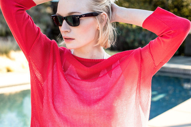 Sustainable Summer It List | Womens lightweight Mesh Pullover Sweater in Red