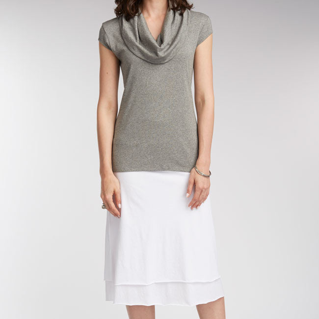 Sustainable Fashion Summer It List | Womens Cowl Neck Tee and Double Layer Skirt