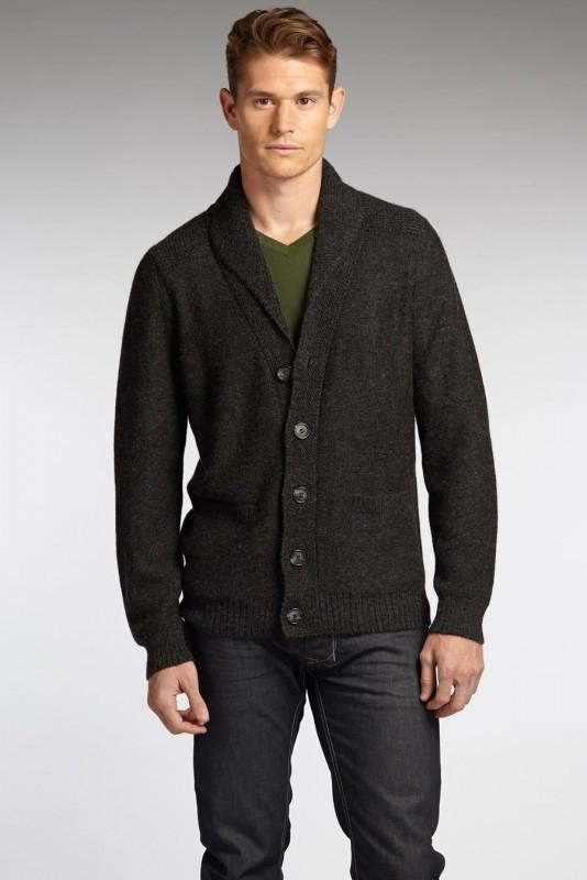 Mens Sweater Alpaca Shawl Collar Cardigan | Gray and Black ...