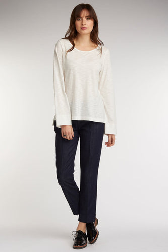 Jewel Neck Slub Pullover
