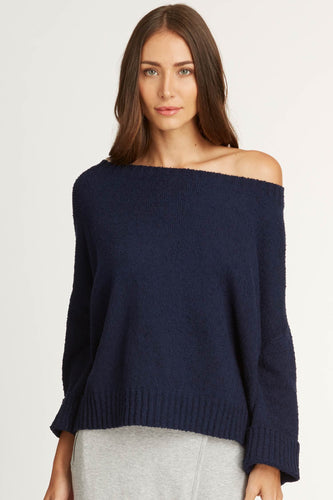 Off Shoulder Bouclé Sweater