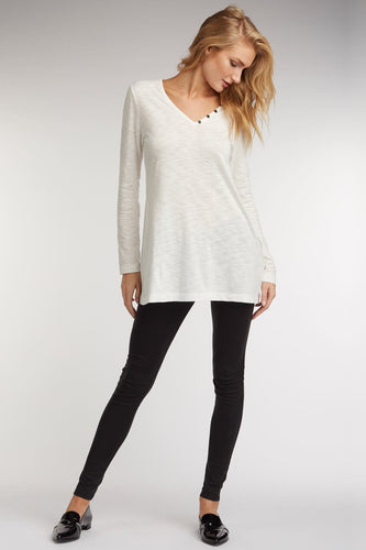 V Neck Slub Tunic