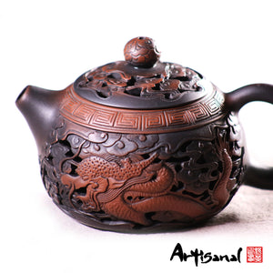 Dragon With Phoenix - Jiang Shui Pottery Teapot - Wild Tea Qi Official Website