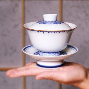 Raindrops Blue White Porcelain Gai Wan - Wild Tea Qi Official Website