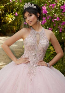 60125 Crystal Beaded and Embroidered Tulle Quinceañera Dress