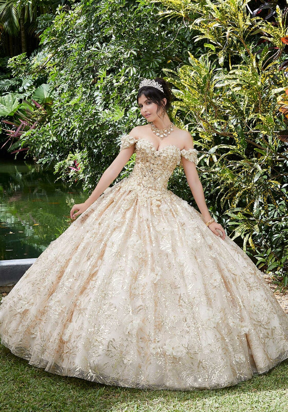 89289 Floral and Sequin Patterned Quinceañera Dress
