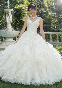 89262 Beaded Lace Tulle and Organza Quinceañera Dress