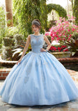 60122 Embroidered and Crystal Beaded Tulle Quinceañera Dress