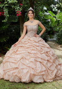 89296 Ruched Glitter Net Quinceanera Dress