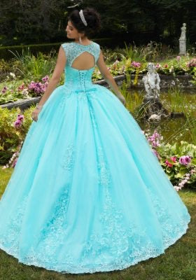 60104 Embroidered Lace Quinceañera Dress