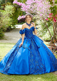 89285 Larissa Satin and Patterned Sequin Quinceañera Dress