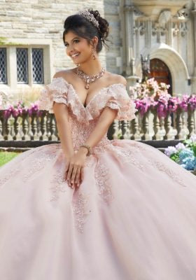60107 Crystal Beaded Lace Appliqué Quinceañera Dress