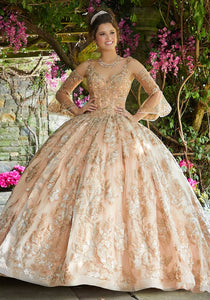 89261 Crystal Beaded Lace and Tulle Quinceañera Dress
