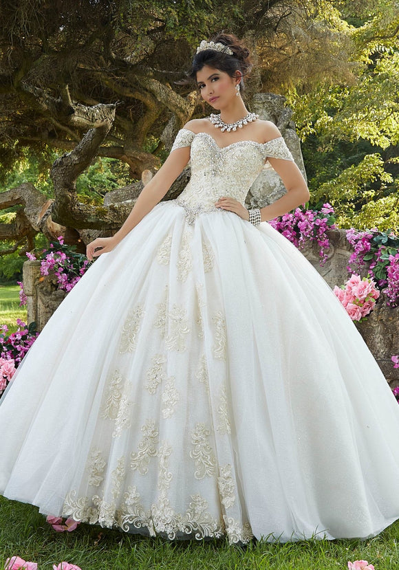 89263 Embroidered Glitter Organza Quinceañera Dress