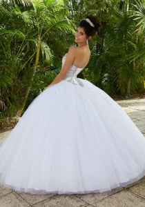 60093 Rhinestone and Crystal Beading on a Tulle Ballgown