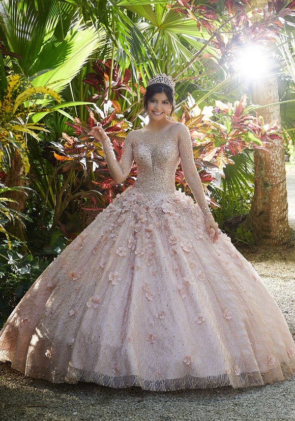 89297 Glitter Net and Floral Applique Quinceañera Dress