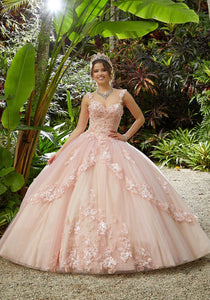 89286 Three-Dimensional Floral Embroidered Quinceañera Dress