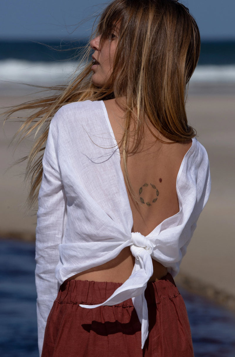 white organic linen wrap top