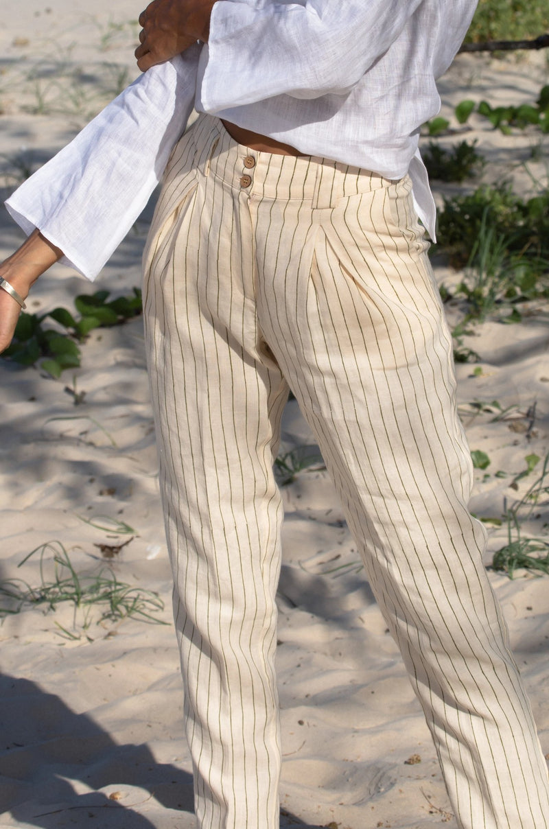 organic linen high waisted pants