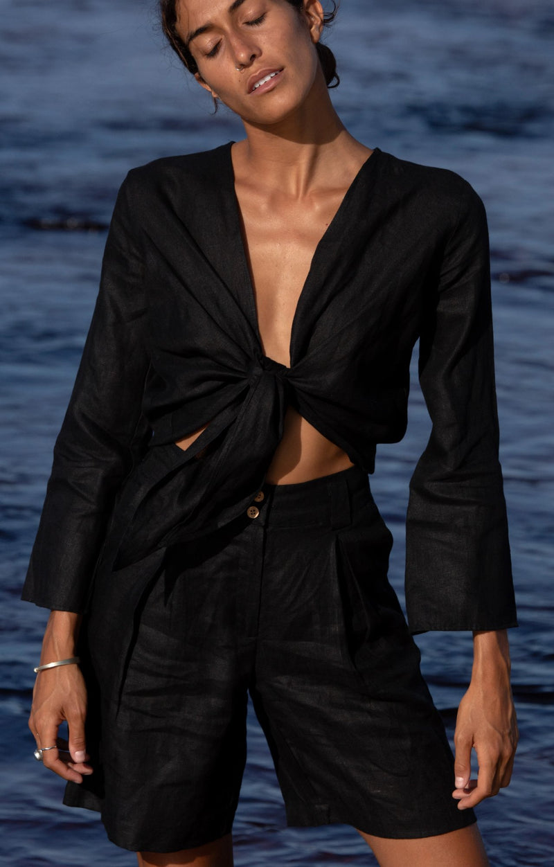 black organic linen wrap top