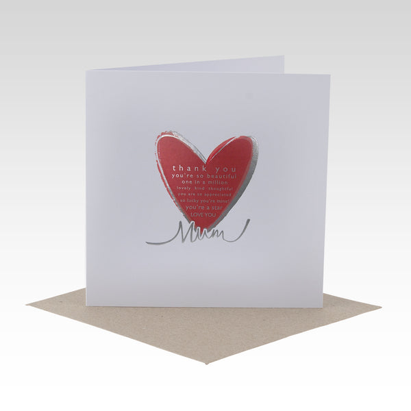 Mother's Day Card - Silver Foil & Red Heart