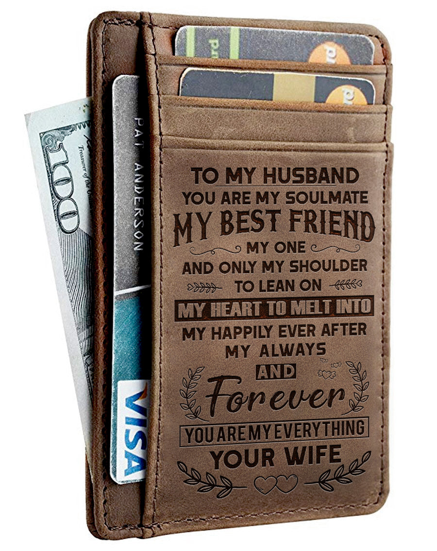 My Husband You Are My Everything Leather Card Wallet Leathrr