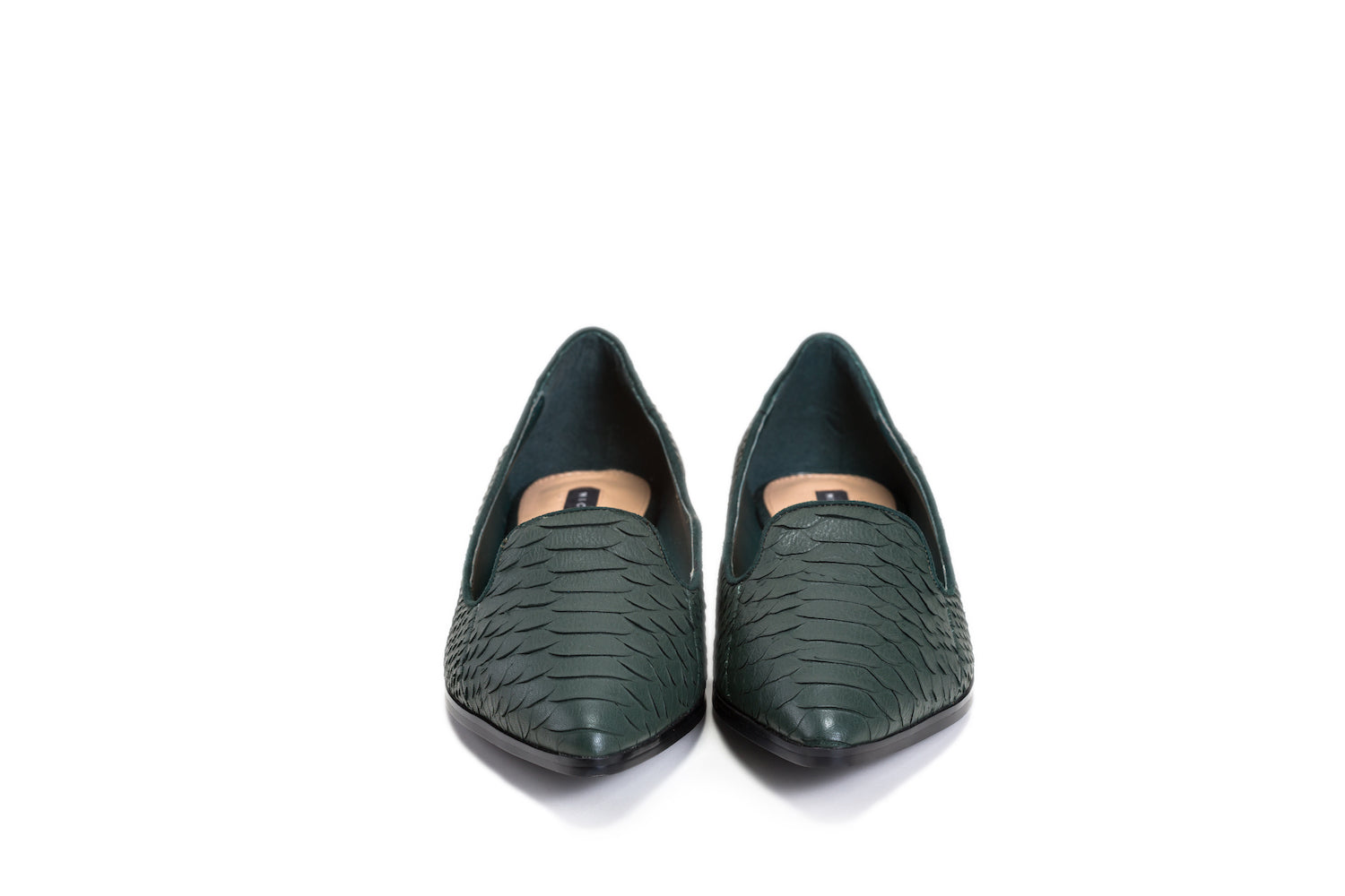 MICHELE HO Green crocodile textured real leather flats
