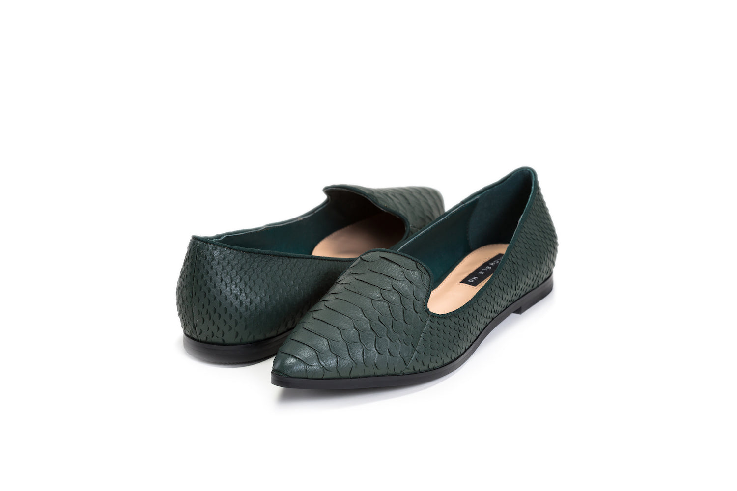 MICHELE HO Green crocodile textured leather flats