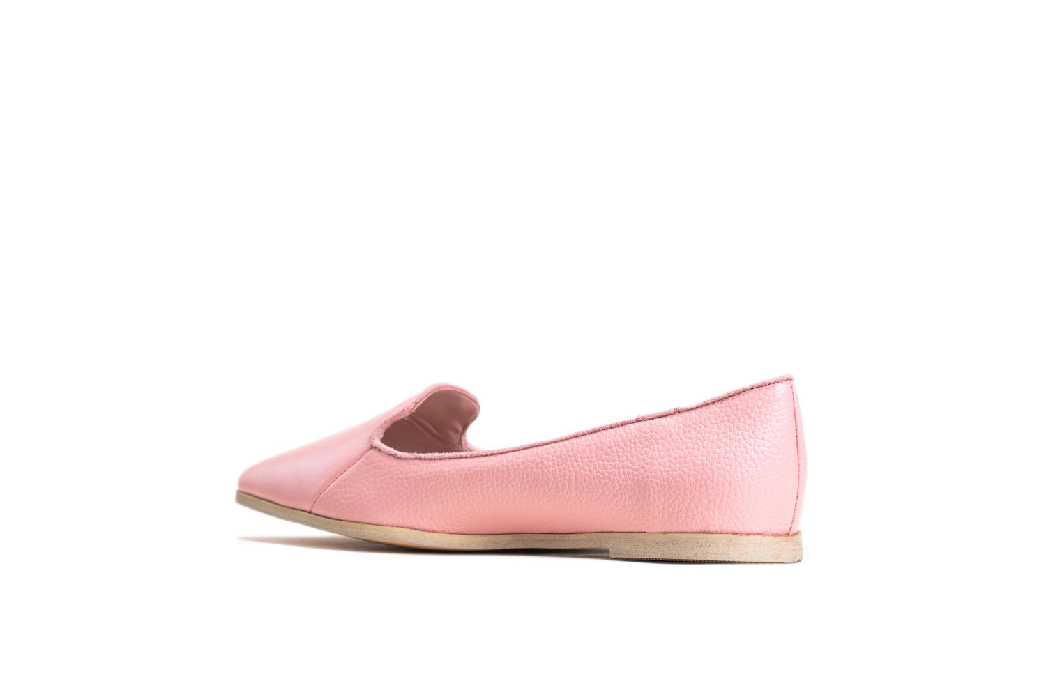 almond shaped toe millennial peach leather flats