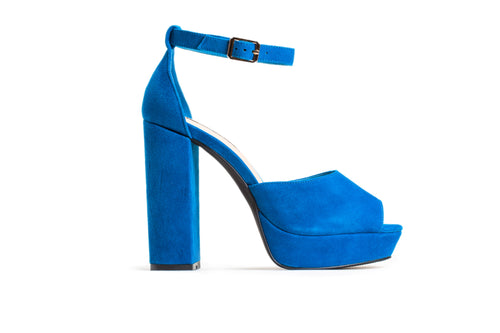 Royal Blue Suede Platform Sandals High Heels