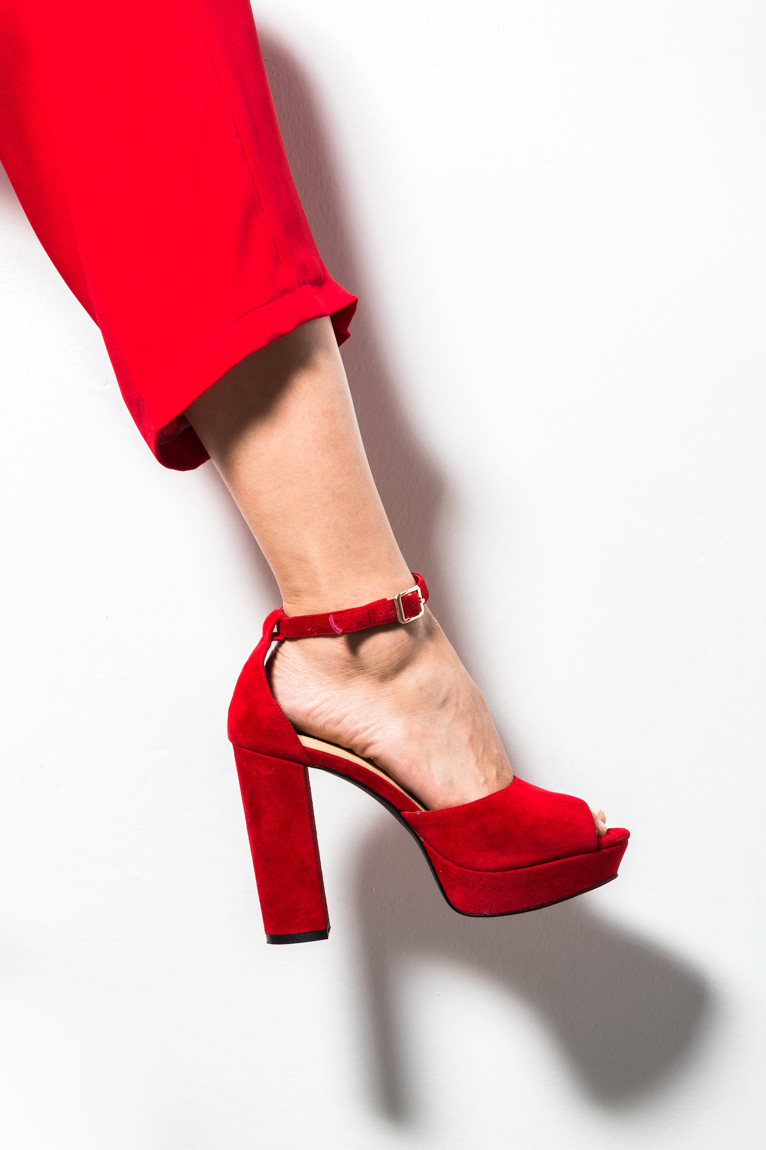 Hot Red Suede Platform Sandals High Heels