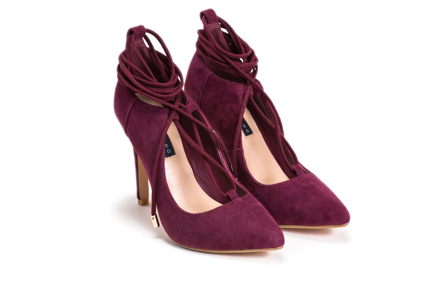 Sexy maroon suede leather lace-up stiletto heels.