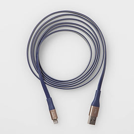 heyday  Lightning to USB-A Flat TPU Cable 6ft - Blue/Silver