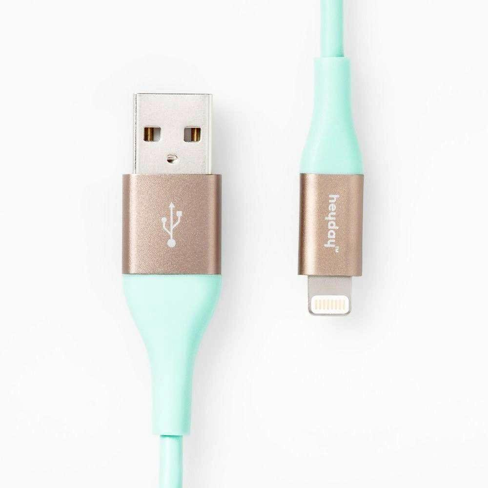 heyday  Micro USB to USB-A TPU Cable 6ft - Teal/Gold
