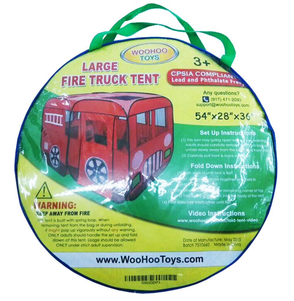 Large Red Fire Engine Truck Pop Up Play Tent With Side Door