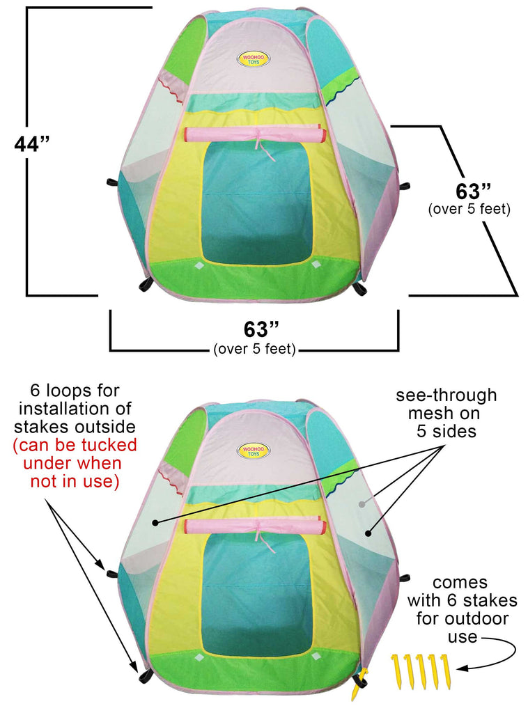 ... Large 6-Sided Pop-Up Teepee Playhouse Play Tent - Indoor/Outdoor with ...  sc 1 st  WooHoo Toys & Large 6-Sided Pop-Up Teepee Playhouse Play Tent - Indoor/Outdoor ...