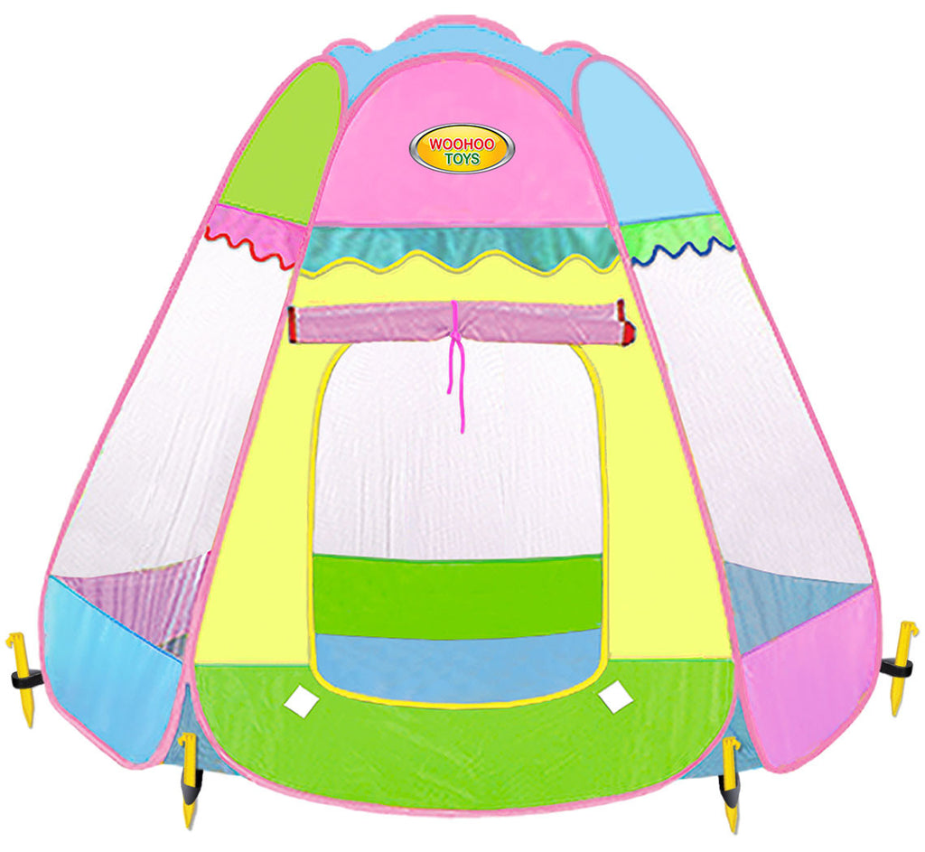 Large 6-Sided Pop-Up Teepee Playhouse Play Tent - Indoor/Outdoor with ...  sc 1 st  WooHoo Toys & Children Royal Highness Princess Castle Playhouse Play Tent For ...