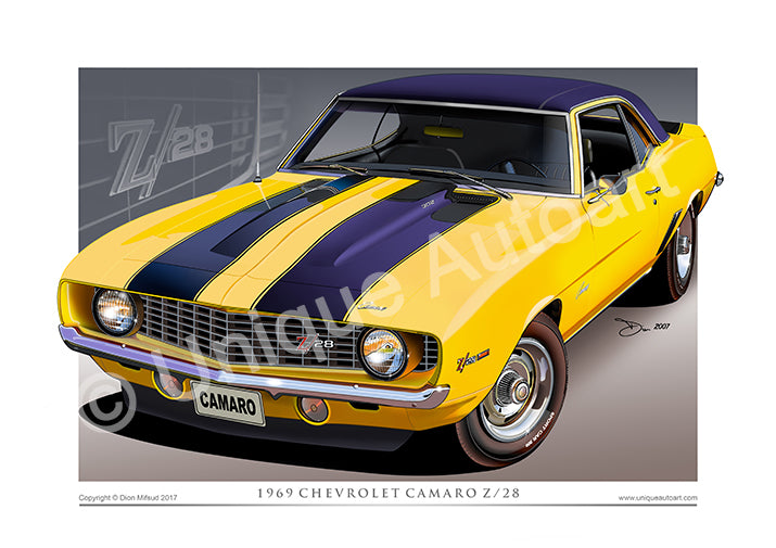 1969 Camaro Drawing - Classic American Muscle Car