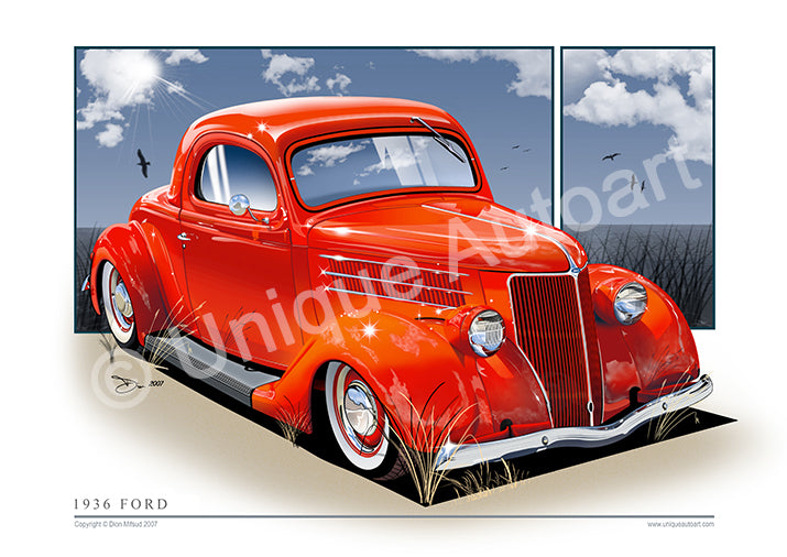 1936 Ford Coupe - Classic Ford Car Drawing