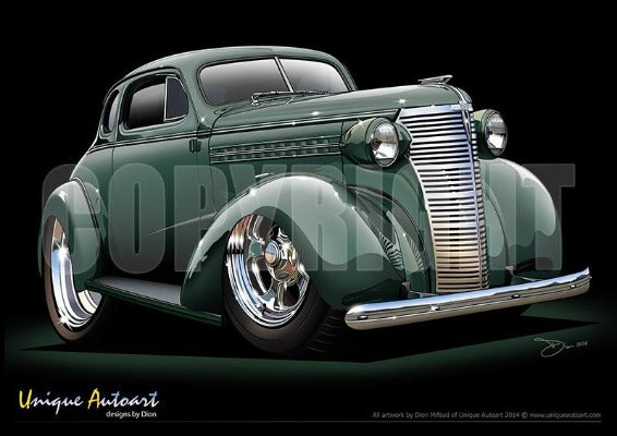 1938 Chevy Custom Coupe-Terrace Green