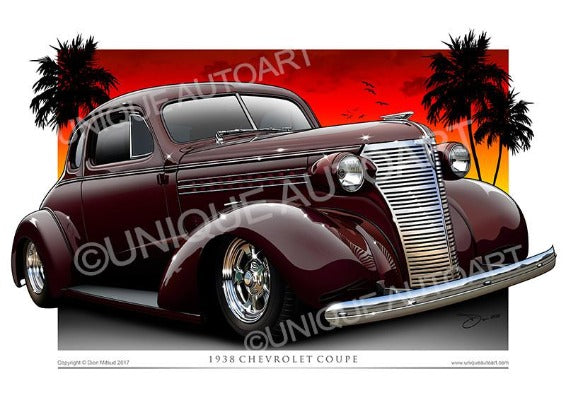 1938 Chevrolet Coupe- York Shire Maroon Archival Prints