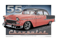 1955 CHEVROLET BEL AIR-TWO TONE (unframed)