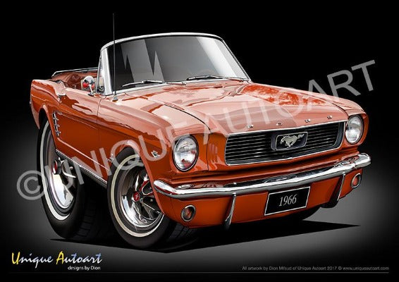 Mustang Convertible Car Art Prints EMBERGLO