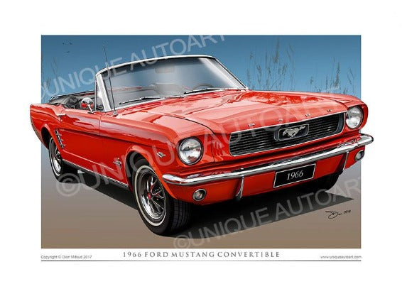 1966 Mustang Convertible- Signal Flare Red