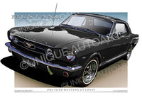 1966 Mustang Art Prints - Raven Black
