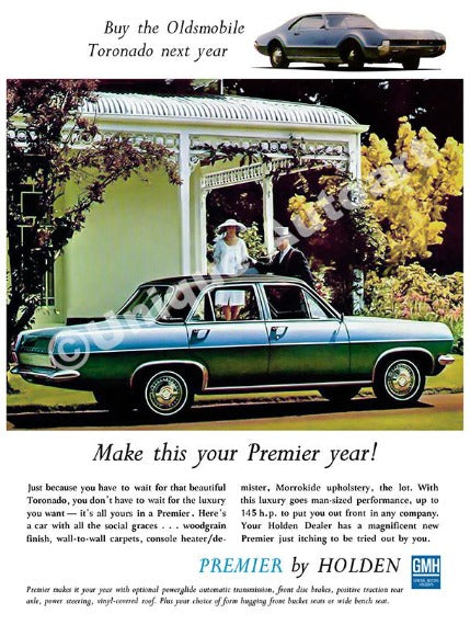 HOLDEN HR PREMIER 1967 - CAR ADVERT (unframed)