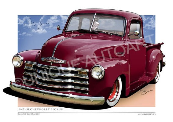 BURGUNDY CHEVY PICKUP